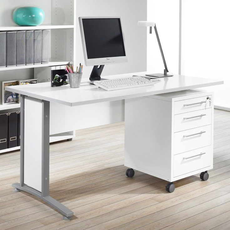 Skrivbord PRIMA med lådhurts på hjul
